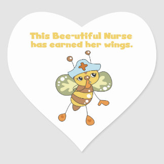 Nurse Earned Her Wings T-shirts and Gifts Heart Sticker