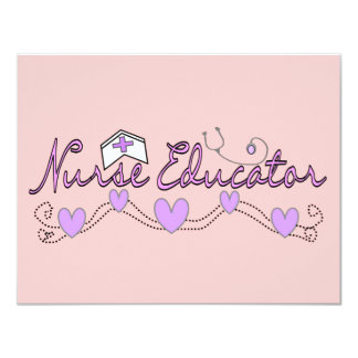 Nurse Educator Pink Hearts Design Invitations