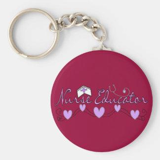 Nurse Educator Pink Hearts Design Basic Round Button Keychain