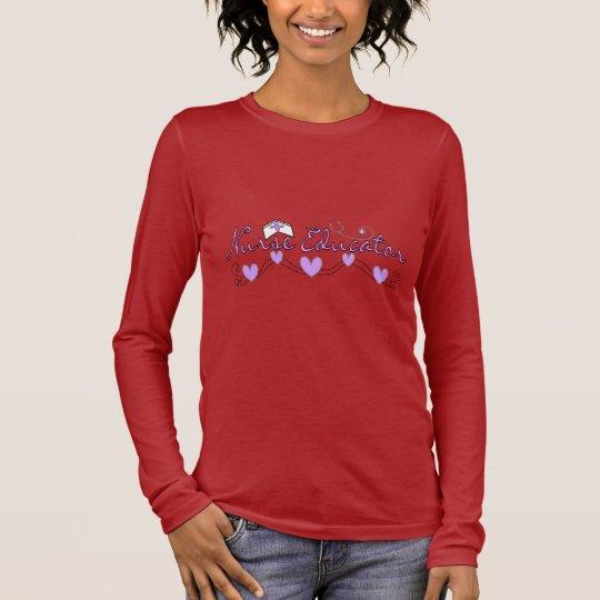 Nurse Educator Pink Hearts Design Long Sleeve T-Shirt