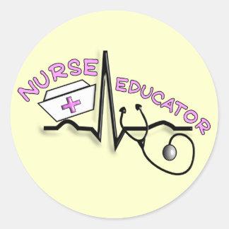 Nurse Educator QRS and Nurse Cap Design Classic Round Sticker