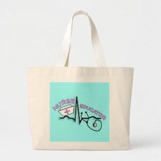 Nurse Educator QRS and Nurse Cap Design Jumbo Tote Bag