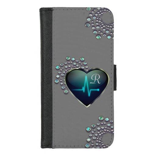 Nurse EKG heart and jewel iPhone 8/7 Wallet Case
