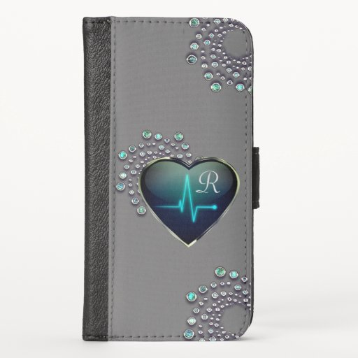 Nurse EKG heart and jewel iPhone X Wallet Case
