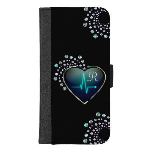 Nurse EKG heart and jewel iPhone 8/7 Plus Wallet Case