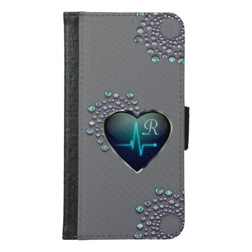 Nurse EKG heart and jewel Samsung Galaxy S6 Wallet Case