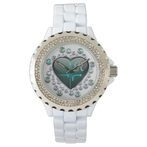 Nurse EKG heart and jewel Watch