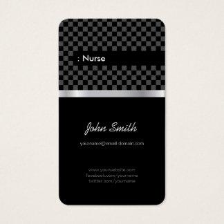 Nurse - Elegant Black Checkered Business Card