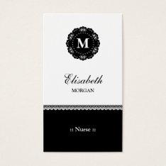 Nurse Elegant Black Lace Monogram Business Card at Zazzle