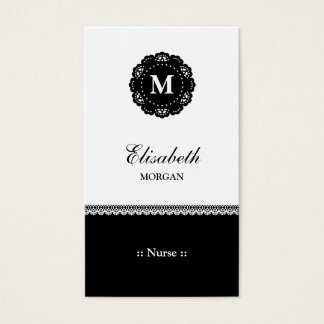 Nurse Elegant Black Lace Monogram Business Card
