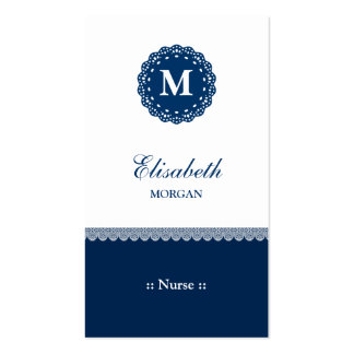 Nurse Elegant Blue Lace Monogram Double-Sided Standard Business Cards (Pack Of 100)
