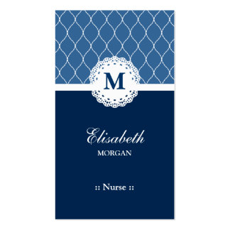 Nurse Elegant Blue Lace Pattern Double-Sided Standard Business Cards (Pack Of 100)