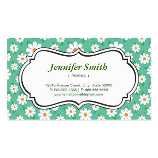 Nurse - Elegant Green Daisy Business Cards