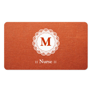 Nurse Elegant Lace Monogram Double-Sided Standard Business Cards (Pack Of 100)