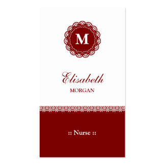 Nurse Elegant Red Lace Monogram Double-Sided Standard Business Cards (Pack Of 100)
