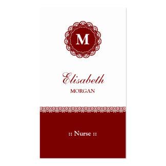 Nurse Elegant Red Lace Monogram Business Card Templates
