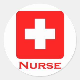 Nurse-English Round Sticker