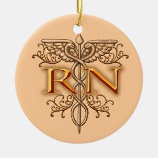 Nurse Fancy Copper RN Caduceus ornament