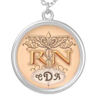 Nurse Fancy Copper RN Caduceus Silver Plated Necklace