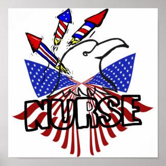 NURSE FIREWORKS PATRIOTIC EAGLE USA PRIDE POSTER