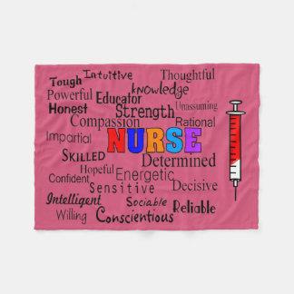 Nurse Fleece Blanket Describing Words Pink