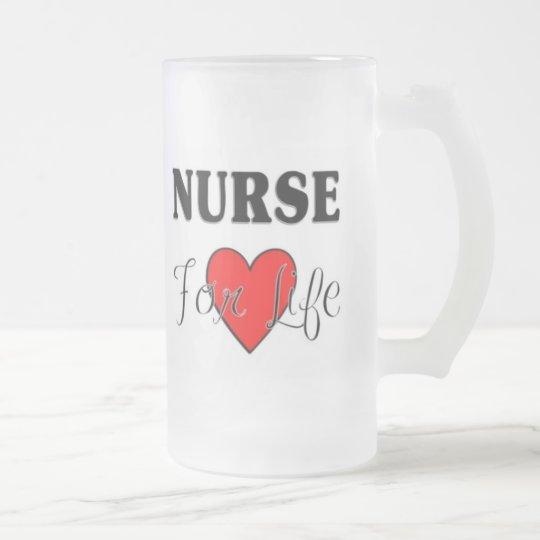 Nurse For Life Frosted Glass Beer Mug