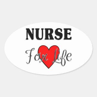 Nurse For Life Oval Sticker