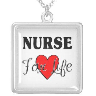 Nurse For Life Square Pendant Necklace