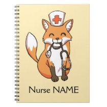 Nurse Fox Drawing Cute Personalised Note Book