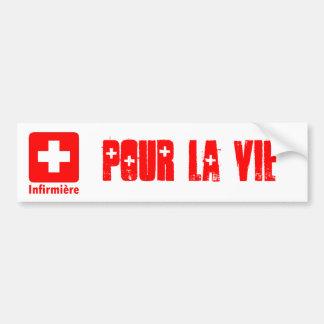Nurse-French Car Bumper Sticker