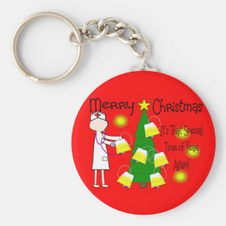 Nurse Funny and Twisted Christmas Humor Basic Round Button Keychain