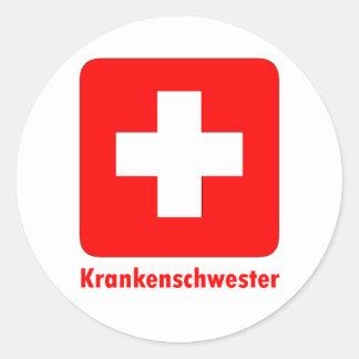 Nurse-German Round Stickers