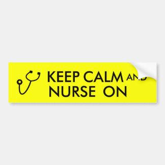 Nurse Gift Stethoscope Keep Calm and Nurse On Bumper Sticker