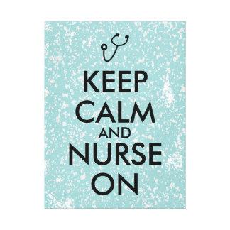 Nurse Gift Stethoscope Keep Calm and Nurse On Canvas Print