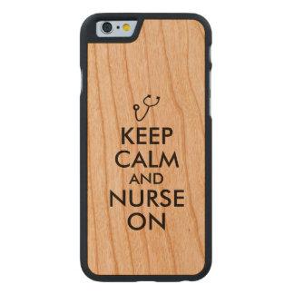 Nurse Gift Stethoscope Keep Calm and Nurse On Carved Cherry iPhone 6 Slim Case