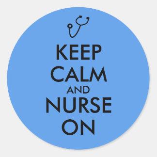 Nurse Gift Stethoscope Keep Calm and Nurse On Classic Round Sticker