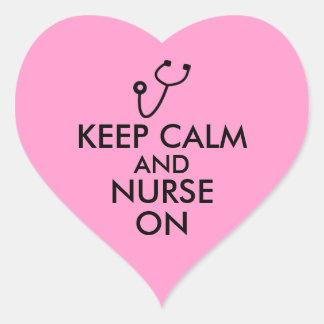 Nurse Gift Stethoscope Keep Calm and Nurse On Heart Sticker
