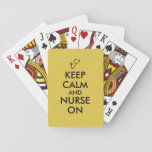 "Nurse Gift Stethoscope Keep Calm and Nurse On Playing Cards<br><div class=""desc"">Make your own keep calm item for nurses or other caretakers with this customisable template. It has an image of a stethoscope instead of the crown logo. It says Keep Calm and Nurse On. Add your own text in the template to personalize, if you want. You can add or change...</div>"
