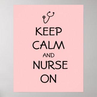 Nurse Gift Stethoscope Keep Calm and Nurse On Posters