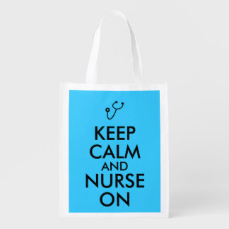 Nurse Gift Stethoscope Keep Calm and Nurse On Grocery Bags