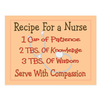 "Nurse Gifts ""Recipe For a Nurse"" Postcard"