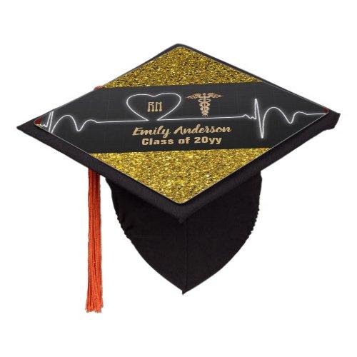 NURSE Grad Cap Topper Personalized Gold Glitter