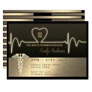 Nurse Graduate Invitation - Black Gold Metallic