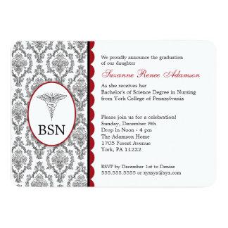 Nurse Graduation BSN RN black burgundy damask Card