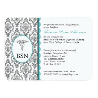 Nurse Graduation BSN RN black turquoise damask Card