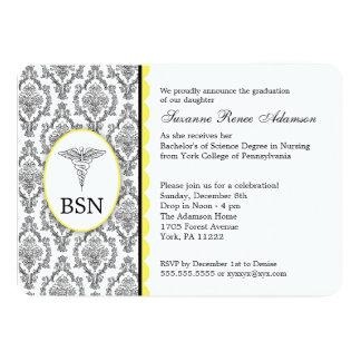 Nurse Graduation BSN RN black yellow damask Card