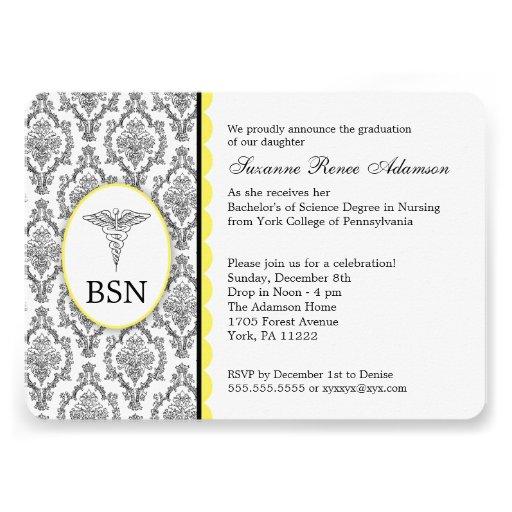 Nurse Graduation BSN RN black yellow damask Personalized Announcements