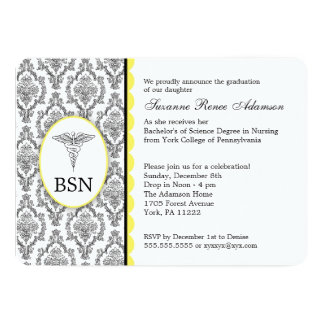 "Nurse Graduation BSN RN black yellow damask 5"" X 7"" Invitation Card"