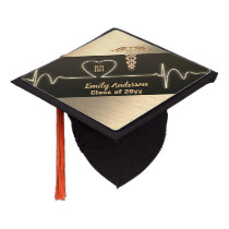 NURSE Graduation Cap Topper Personalized Blck Gold