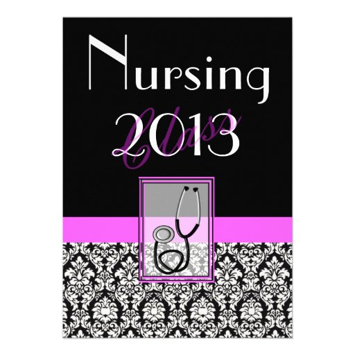 Nurse Graduation Graduation Invitations Damask